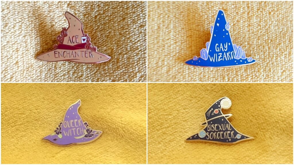A collection of witch's hat pins.