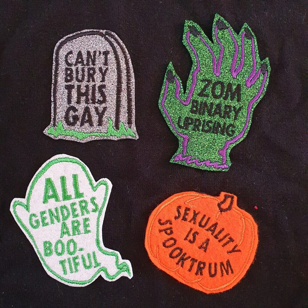 These patches are Halloween and LGBT+ themed.