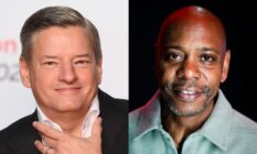 Headshots of Ted Sarandos and Dave Chappelle